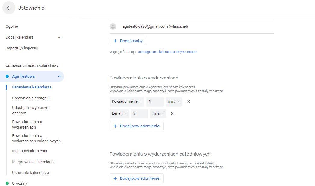 Ustawienia w kalendarzu Google do zastosowania metody Pomodoro