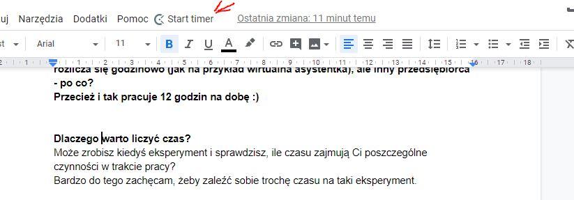 Zrzut kawałka ekranu - Clockify - podłączony w dokumentach Google - Jak mierzyć czas wykonywania zadań